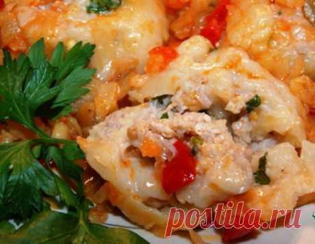 Ленивые пельмени в овощном соусе – кулинарный рецепт