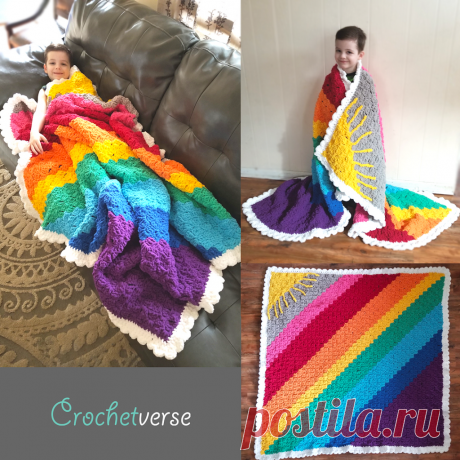 "Sunshine on a Cloudy Day C2C ""Calming Blanket"" Free Crochet Afghan Pattern! | Crochetverse"