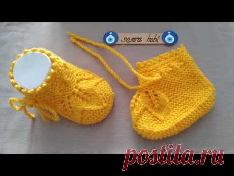 üç yapraklı dikişsiz bebek patik yapılışı  #baby #knitting #crochet