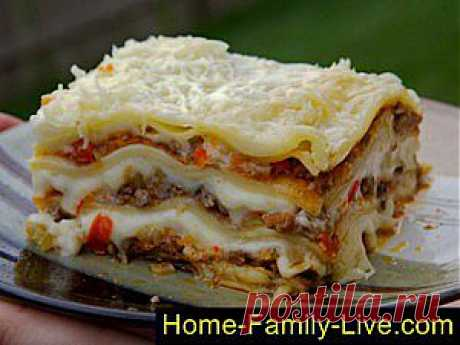 Кулинарные рецепты Лазанья мясная - пошаговый фоторецепт - итальянская кухня