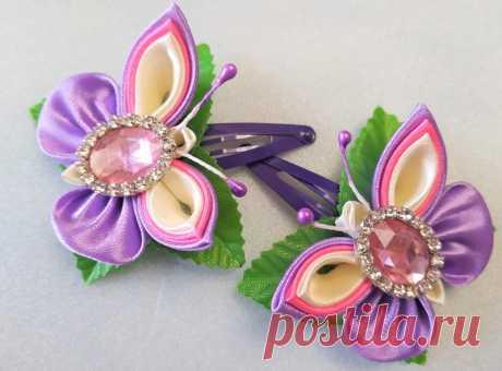 Розово-сиреневые бабочки из атласных лент – мастер-класс по изготовлению оригинальных заколок своими руками
