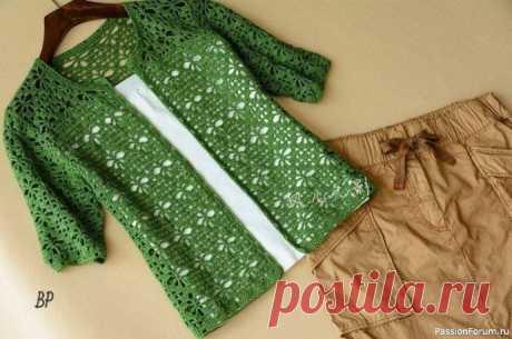 Красивый ажурный жакет крючком | Женская одежда крючком. Схемы и описание