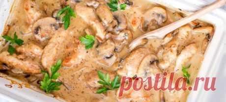Нежная и приятная на вкус курица с грибным соусом за 15 минут!