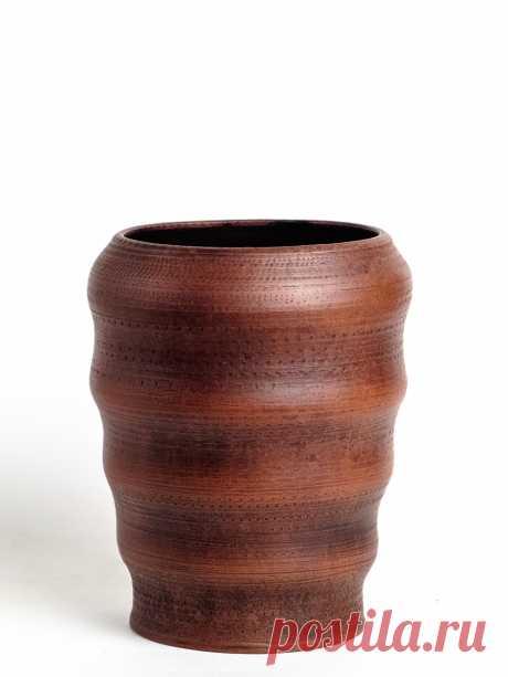 Ваза ручной работы выполненная на гончарном круге , Молочный обжиг, Лощение, Покрыта ганозисом. Срок годности 5000 лет!