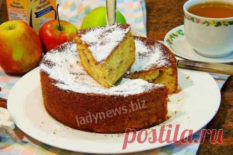 Яблочный пирог с горячим молоком - пошаговый рецепт с фото