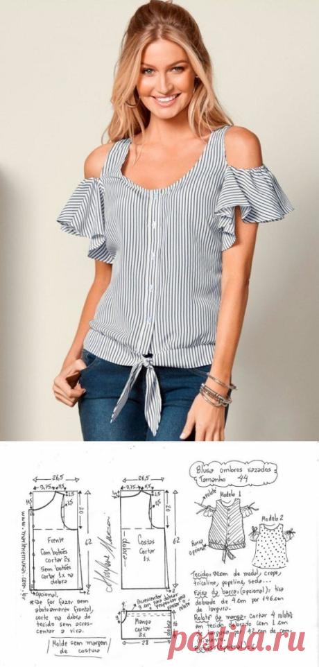 Блузка с открытыми плечами.Размеры 36-56(евро) (Шитье и крой) – Журнал Вдохновение Рукодельницы