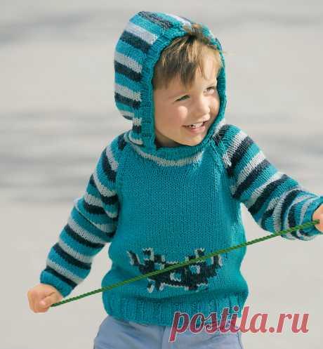 Джемпер с капюшоном для мальчика - схема вязания спицами. Вяжем Джемперы на Verena.ru