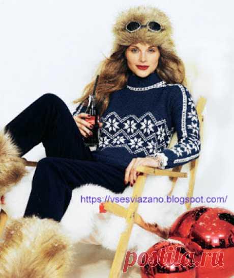 ВСЕ СВЯЗАНО. ROSOMAHA.: Свитер с норвежскими снежинками, связанный одной деталью, и шапка.