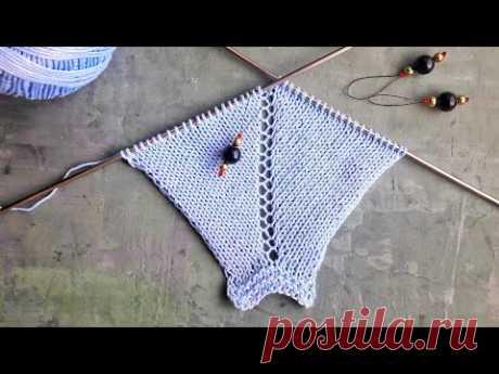 Простой способ прибавления петель при вязании спицами регланом сверху / Ажурная регланная линия