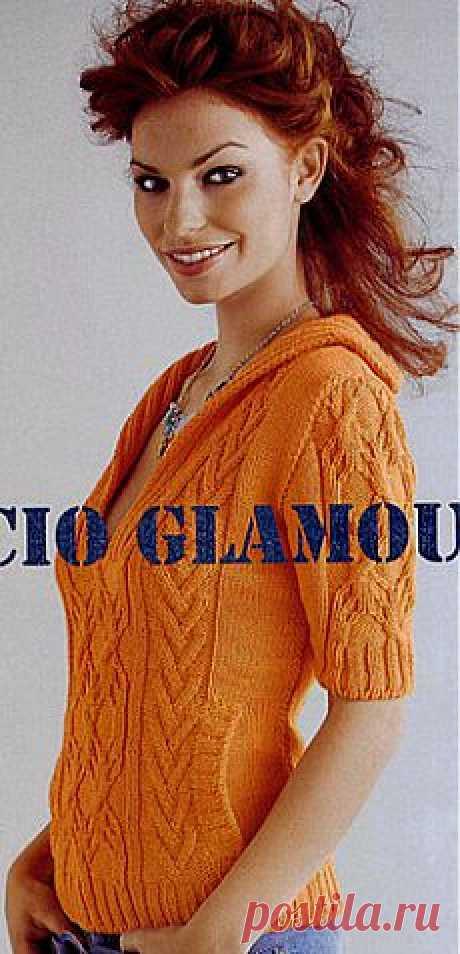 Кофточка апельсинового цвета спицами.
