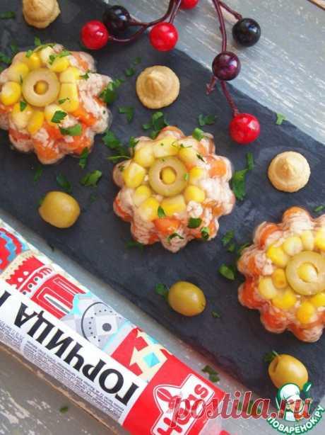 Заливное из курицы с оливками и кукурузой - кулинарный рецепт