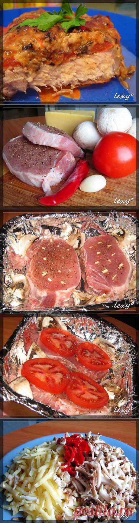 Острая свинина с сыром и грибами в духовке..