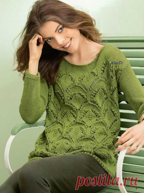 Пуловер узором с ажурными арками. Женский пуловер спицами узором шишечки |