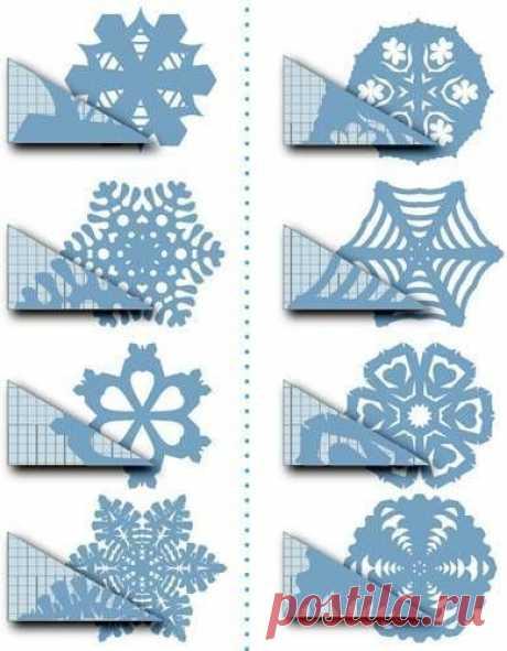 Очень много вариантов вырезания снежинок