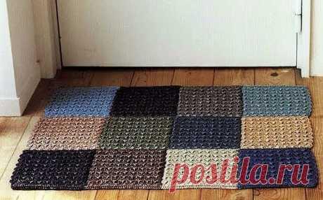 Простой коврик из разноцветных квадратов. Крючком. Схема квадрата. /  Вязаные идеи, идеи для вязания