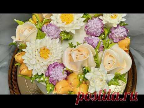 Цветы из БЗК. Розы, хризантемы, скабиоза. Торт для девочки.Flowers from bzk. Roses, chrysanthemums.