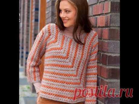 Пуловер из нестандартных квадратов | Вязание крючком с Ириной Булановой | Яндекс Дзен