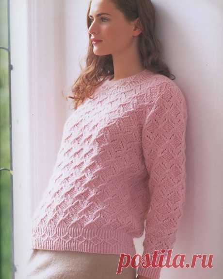 Джемпер узором Бабочки с узорной резинкой розового цвета спицами – схемы с выкройкой — Пошивчик одежды