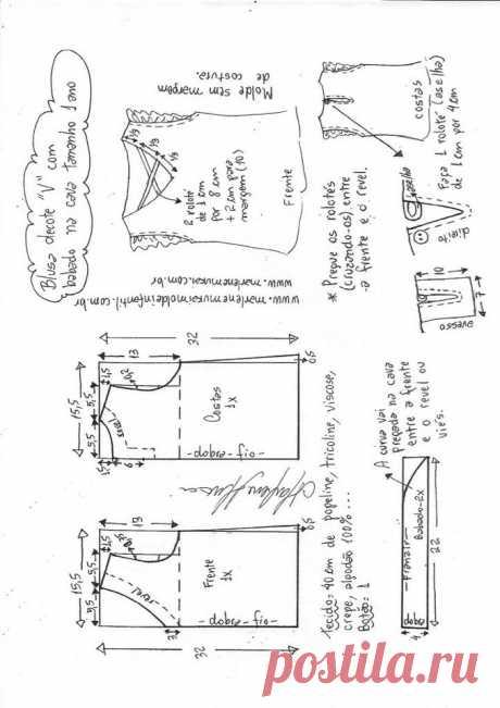 Выкройка летней блузки для девочки на возраст от 1 года до 12 лет (Шитье и крой) – Журнал Вдохновение Рукодельницы