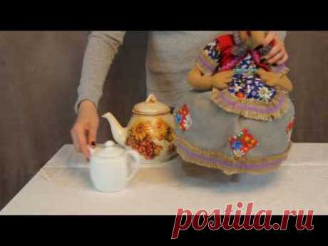 Doll on a teapot the Baba-yaga small \/ www.artshop-rus.com