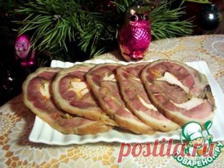 Рулька свиная, фаршированная языком и курицей - кулинарный рецепт