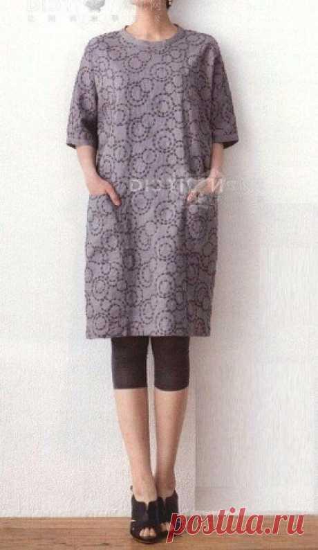 Выкройка-шаблон платья-туники с цельнокроеными рукавами и застежкой на спинке на все размеры | OK.RU
