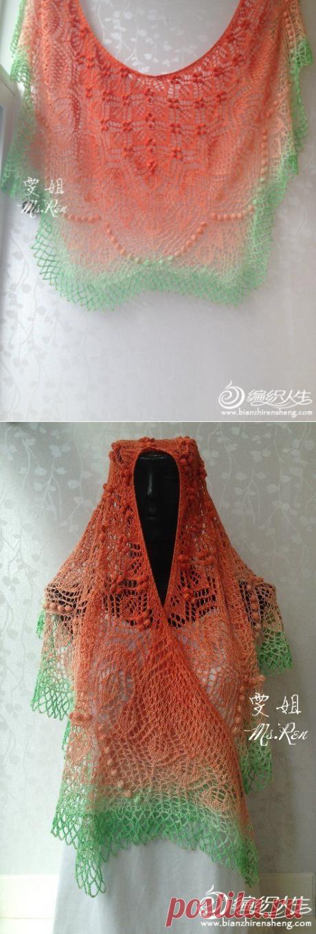 Нежная двухцветная шаль