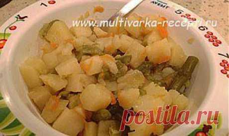 Тушеный картофель с фасолью в мультиварке |