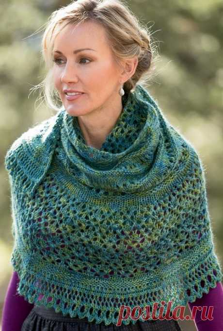 Knitting of a shawl of Monsoon from Interweave Knits Spring 2014