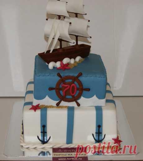 Юбилейный торт на 70-летний юбилей для моряка.Вес 7 кг.
