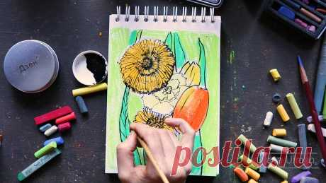 Специально для начинающих рисовальщиков: рисуем цветы за 30 минут | Хобби Фани. | Яндекс Дзен