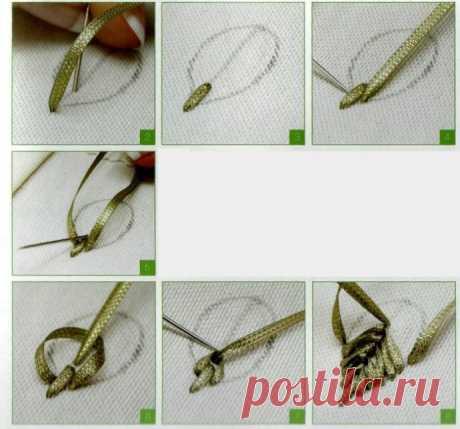 Вышивка лентами: листики