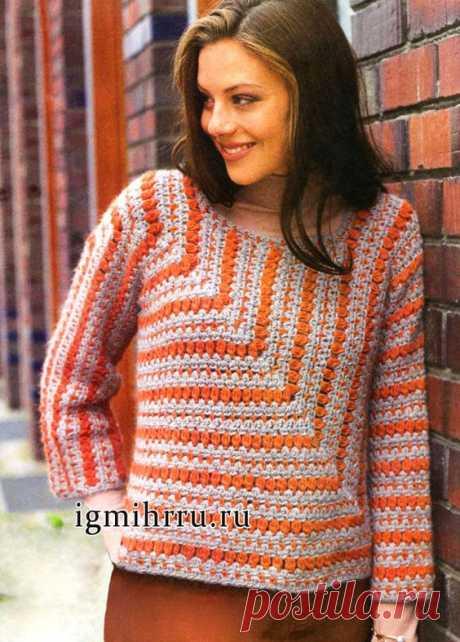 Вязаная модель с описанием, выкройками, схемами вязания; Вязание женский пуловер крючком; Вязание женский вязаный пуловер; Вязание для женщин крючком; Вязание бесплатное; Вязание модели бесплатно…