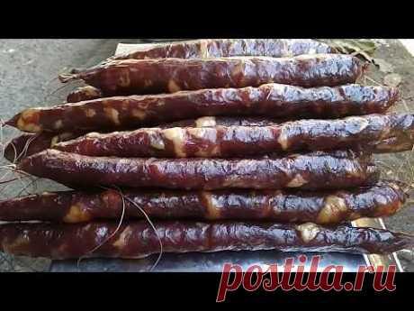 Домашняя сырокопченая колбаса, старинный рецепт.