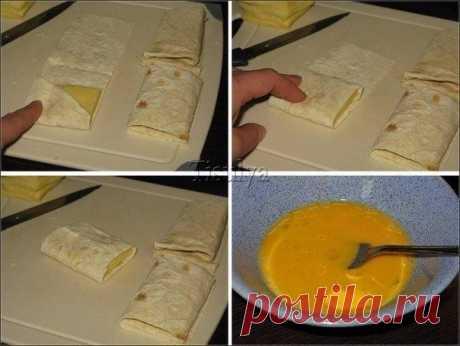Лаваш с сыром в яйце. Завтрак за 5 минут.