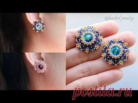 Royal queen stud earrings. How to make beaded jewelry. Beading tutorial