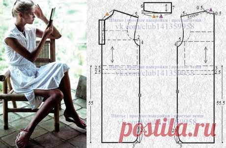 Платье прямого силуэта с кулиской на талии, короткими цельнокроеными рукавами и отложным воротником с планкой - моделирование. #простыевыкройки #простыевещи #шитье #платье #моделирование