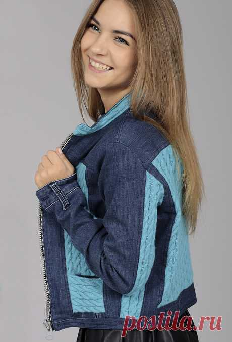 Jacket with knitted inserts. Knitting for women \/ Jackets \/ Spokes