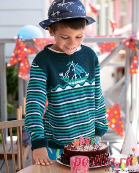 "Stylish children's ""Парусник&quot jumper; knitted spokes!"