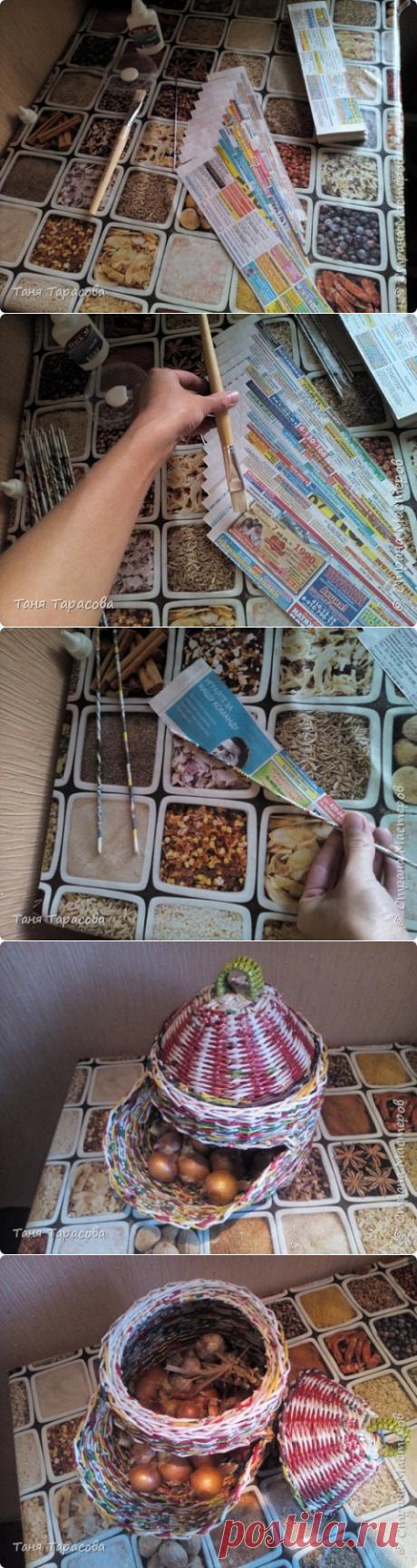 Новый способ поклейки газетных трубочек
