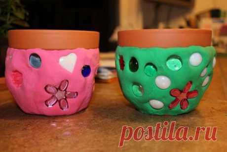Горшок для цветов (детская поделка из пластилина и глины) - Детская поделка своими руками