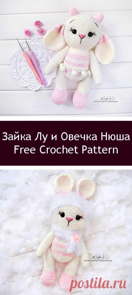 PDF Зайка Лу и Овечка Нюша. FREE amigurumi crochet pattern. Бесплатный мастер-класс, схема и описание для вязания игрушки амигуруми крючком. Вяжем игрушки своими руками! Кролик, заяц, зайчик, зайка, rabbit, hare, bunny, овечка, sheep. #амигуруми #amigurumi #amigurumidoll #amigurumipattern #freepattern #freecrochetpatterns #crochetpattern #crochetdoll #crochettutorial #patternsforcrochet #вязание #вязаниекрючком #handmadedoll #рукоделие #ручнаяработа #pattern #tutorial #häkeln #amigurumis