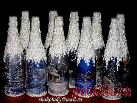 Новогодний декупаж шампанского. Идеи.