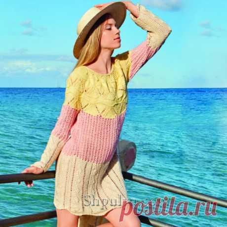 Ажурное трехцветное платье спицами — Shpulya.com - схемы с описанием для вязания спицами и крючком