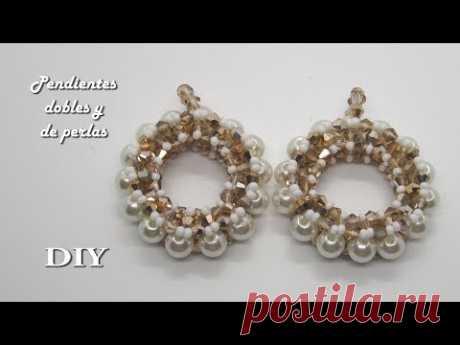 DIY - Pendientes dobles de perlas  - Double pearl earrings - أقراط لؤلؤة مزدوجة