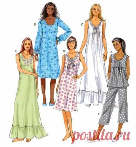 Пижама, ночные сорочки #Готовые_выкройки