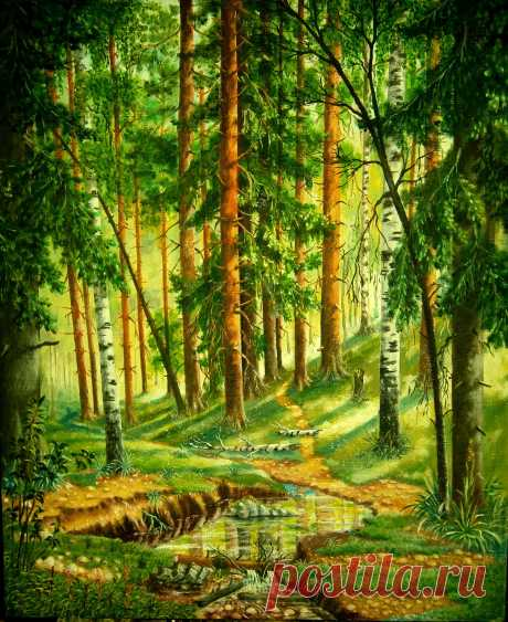 Лесной ручей     х/м  50х60