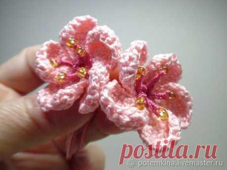 Мастер-класс : Как связать крючком цветок персика   Журнал Ярмарки Мастеров