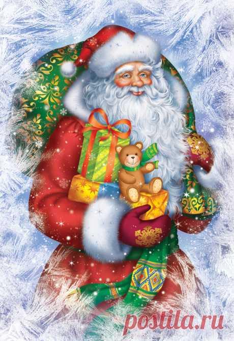 Открытки с Дедом Морозом и Сантой.