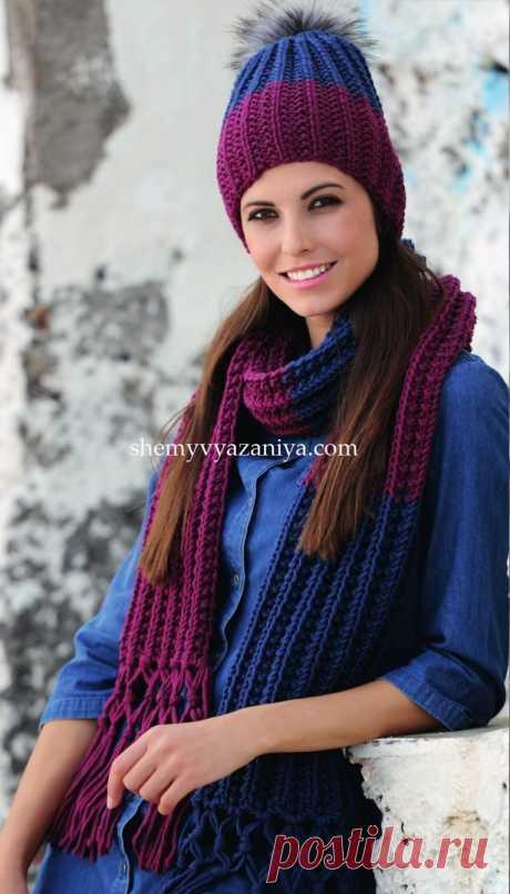 Шапка и шарф ложным патентным узором